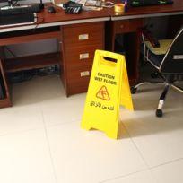 Wewoo - Panneau de signalisation attention sol glissant anglais arabe avertissement sécurité magasin restaurant