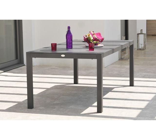 Dcb Garden Table en aluminium et plateau duranite noir
