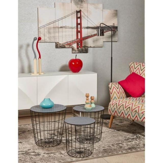 BOUT DE CANAPE AUSTRAL 3 tables basses rondes style contemporain en métal noir - D 35 cm - 40 cm et 45 cm