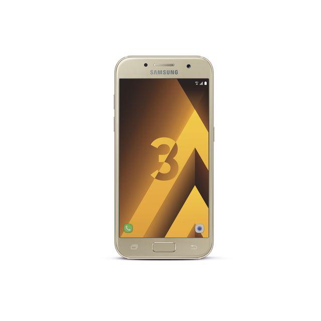 """Samsung Galaxy A3 2017 - Or Débloqué et compatible tous opérateurs - Ecran tactile Super AMOLED 4,7"""" en 720 x 1280 pixels (312 ppp) - Corning Gorilla Glass - Android 6.0 Marshmallow - InterfaceSamsung TouchWiz - Processeur"""