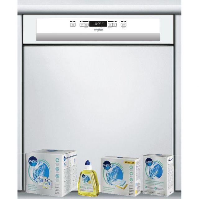 Whirlpool Lave-vaiselle intégrable semi encastrable Blanc 46dB A++ 14couverts 8programmes 6ème sens