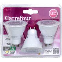 CARREFOUR - Lot de 3 ampoules LED Spot GU10 5W BL3 CRF