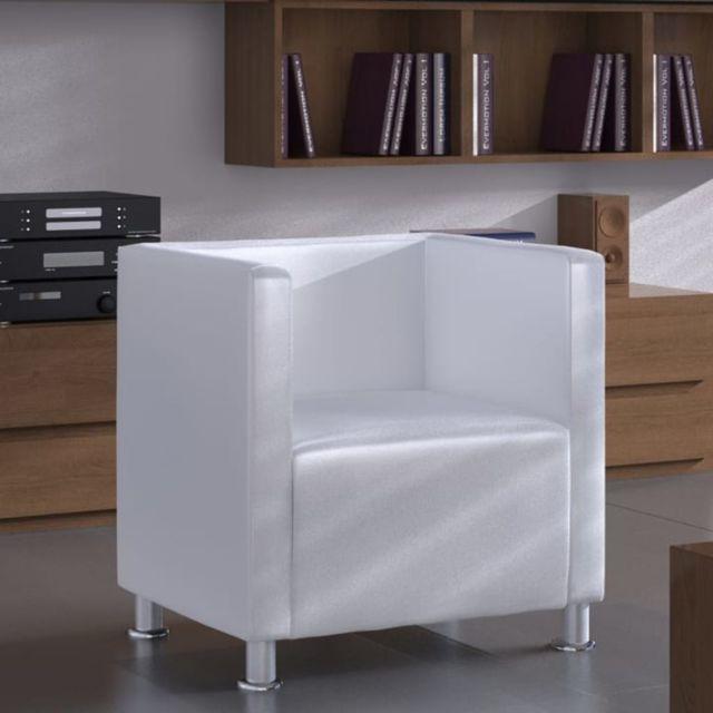 Marque Generique Distingué Fauteuils collection Maseru Fauteuil Design de cube Cuir synthétique Blanc