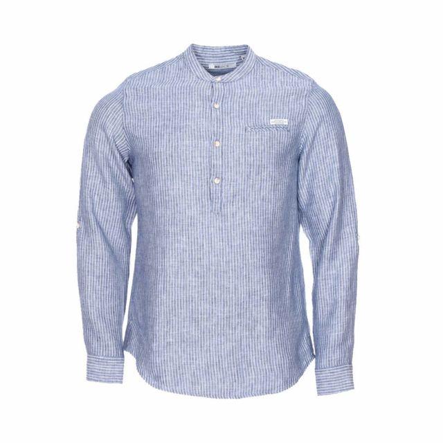 b71387653c2f Deeluxe - Chemise droite Est 74. Cubano en lin bleu à rayures blanches à  col tunisien - pas cher Achat   Vente Chemise homme - RueDuCommerce