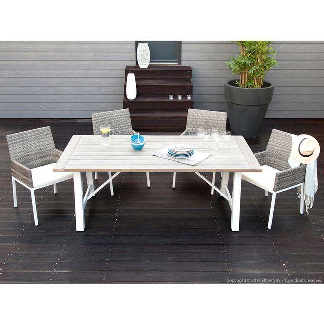House Bay - Salon de jardin 4 places aluminium composite : 1 ...