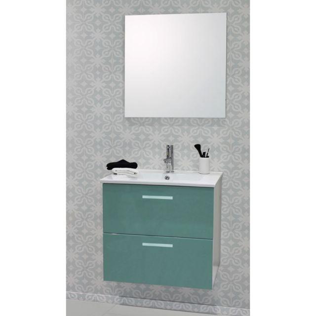 Caisson de meuble de salle de bain modulable Malea 60cm vert + spot