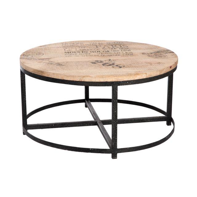 Table basse ronde en bois et pieds métal - coloris bois