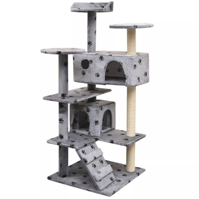 Helloshop26 Arbre à chat griffoir grattoir niche jouet animaux peluché et sisal 125 cm empreintes de pattes gris 3702268