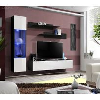 Meuble Neuf Tv Laque Design Neo Suspendu Led Noir Blanc