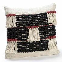 Amadeus - Coussin déhoussable coton brodé franges noir/rouge 40x40cm Atlas