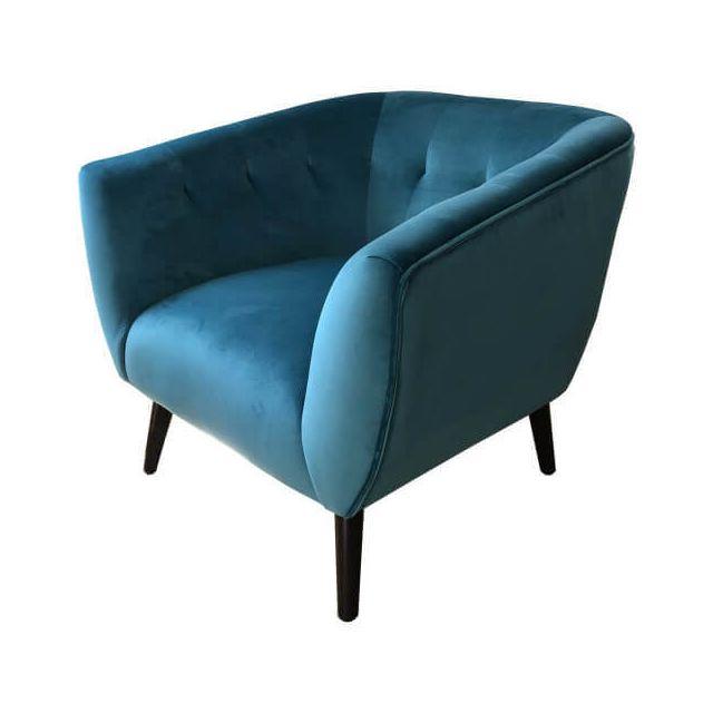 Mathi Design Lulea - Fauteuil confortable en tissu velours bleu