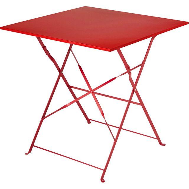 Alinéa - Pims Table de jardin pliante rouge en acier 2 ...