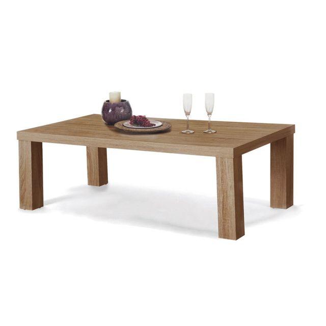 Sofamobili Table basse couleur chêne clair contemporaine Attilan