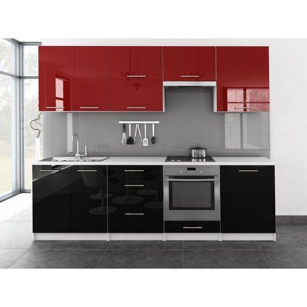 Meublesline Cuisine complète Toro 2m60 bi-color design noir et rouge