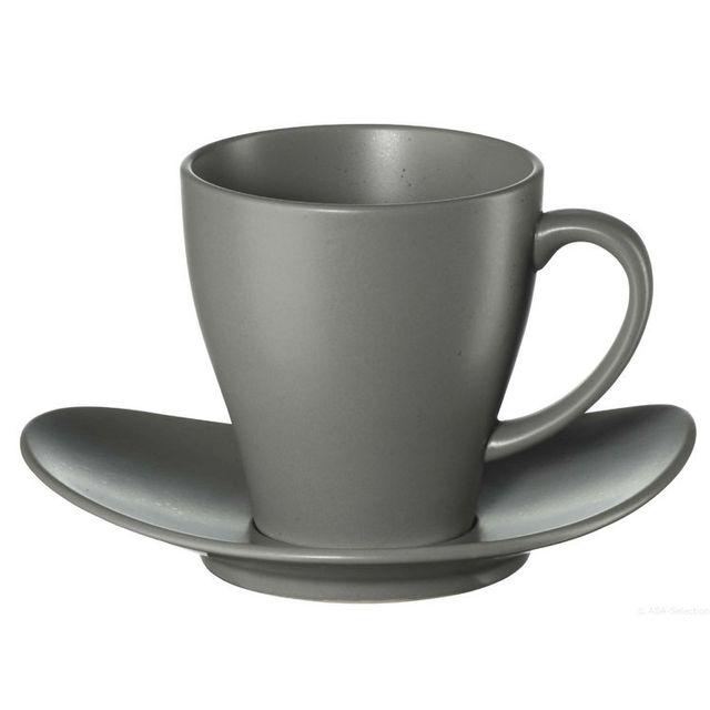 Asa Tasse à café + soucoupe en grès 20cl Cuba - Gris