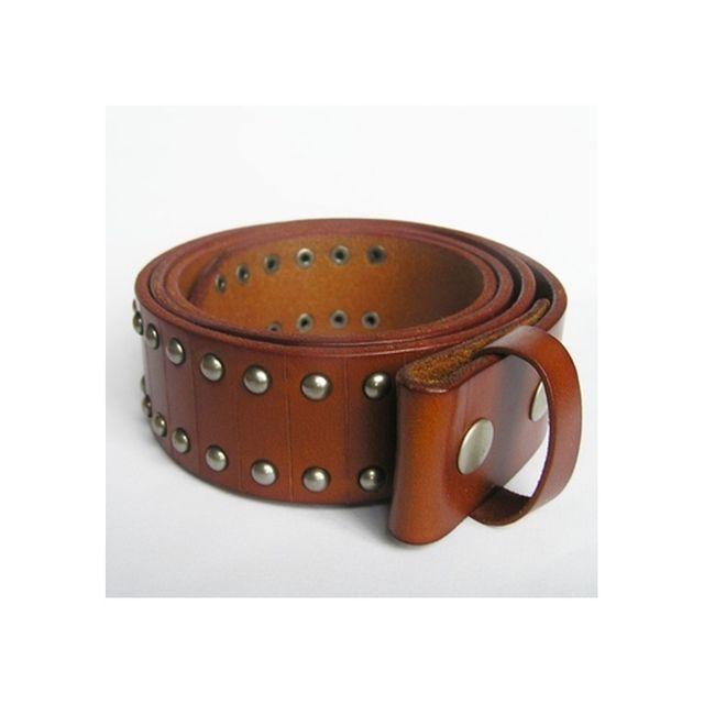 0366e3b8d64 Universel - L 115cm ceinture en cuir véritable marron et rivet homme femme