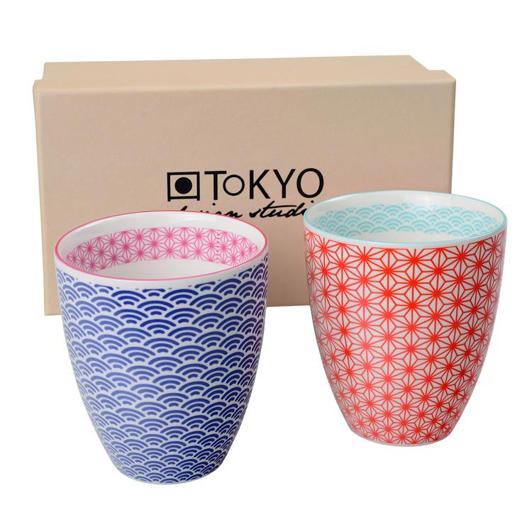 Tasse en porcelaine motifs vagues/rosaces 8.7x9.8cm - Coffret de 2 Star Wave - Bleu/Rouge
