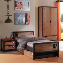 - Ensemble lit 90x200cm + chevet + tiroir + armoire coloris marron