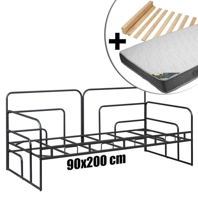 Altobuy Minna Noire - Pack Banquette-Lit 90x200cm + Matelas Java