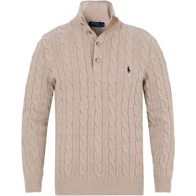 Ralph Lauren - Pull beige col camionneur - pas cher Achat   Vente Pull  homme - RueDuCommerce 18d65999561b