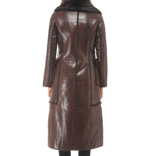 Isaco Manteau long en simili cuir à col revers en fourrure