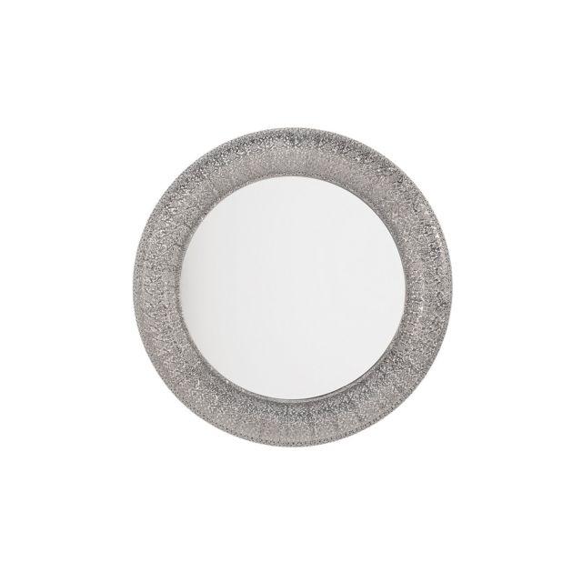 BELIANI Miroir argenté de forme ronde CHANNAY - argent
