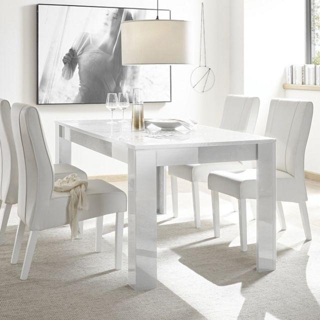Kasalinea Table a manger 180 cm blanche laqué design Nerina