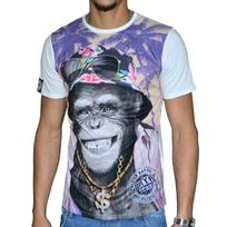 Sohype - So Hype - Tshirt Manches Courtes - Homme - Monkey Bling Bling - Blanc Violet
