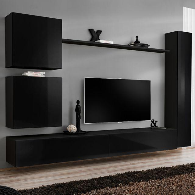 Nouvomeuble Ensemble meuble tele noir laqué design Latiano 4