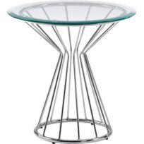 COMFORIUM - Table d'appoint design avec plateau en verre trempé et pieds en acier chromé 52Øcm