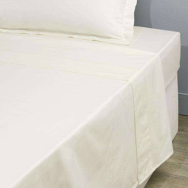 tex home drap plat uni en coton ecru pas cher achat vente draps plats rueducommerce. Black Bedroom Furniture Sets. Home Design Ideas