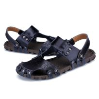 8e70757368fa20 Wewoo - Sandales Confortable en cuir souple couleur unie de plage pour  hommes couleur: noir