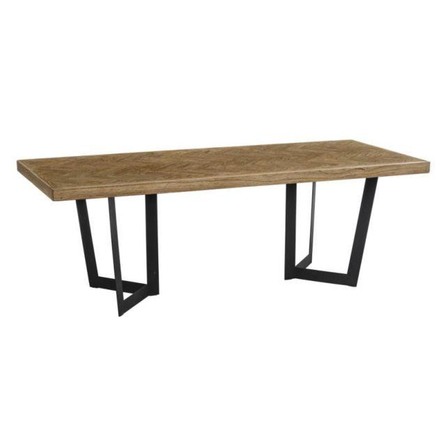Tousmesmeubles Table de repas rectangulaire 220 cm Bois parqueté/Métal - Ifrane