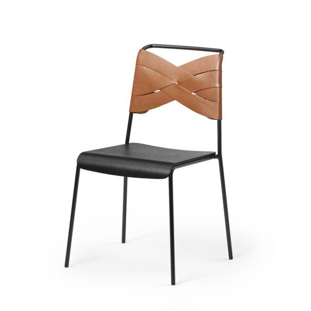 Design House Stockholm Chaise Torso - cognac - Bois noir