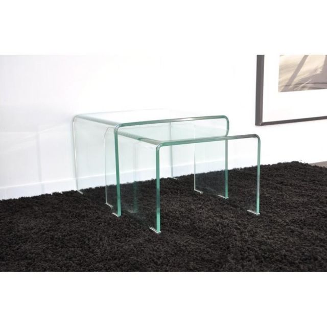 Inside 75 Wave gigogne transparente 2 tables verre design