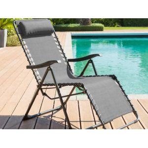 hesperide fauteuil de jardin relax silos gris anthracite 1 pas cher achat vente transats. Black Bedroom Furniture Sets. Home Design Ideas