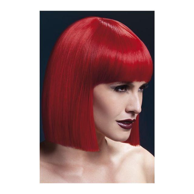 Perruque carré rouge avec frange. 30 cm -