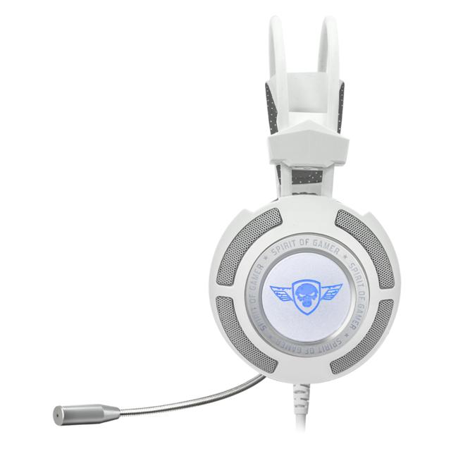 SPIRIT OF GAMER micro-casque ELITE-H70 blanc PC Son virtuel 7.1 avec logiciel SOG, micro flexible, écouteur 50mm, coussinets ultra confort avec isolation parfaite