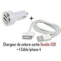 Cabling - Chargeur allume cigare double Usb pour Apple iPhone iPod Nano Touch Mp3 Mp4 , Iphone 3, Iphone 3GS, Iphone 4