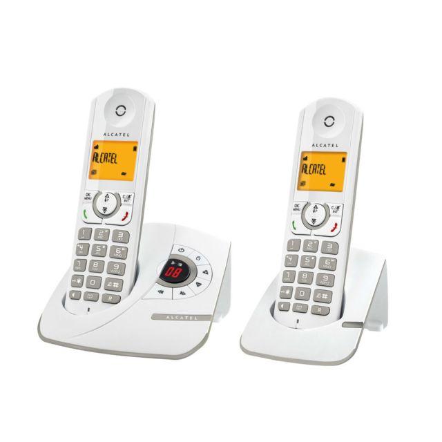 alcatel t l phone fixe sans fil avec r pondeur f330 voice duo gris pas cher achat. Black Bedroom Furniture Sets. Home Design Ideas