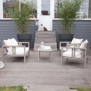 House Bay - Salon de jardin bas 4 places Acacia gris : 1 canapé + ...
