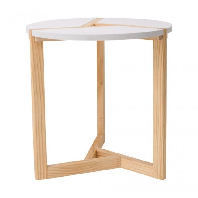 Mobili Rebecca Table du Salon Table Basse Bois Beige Blanc