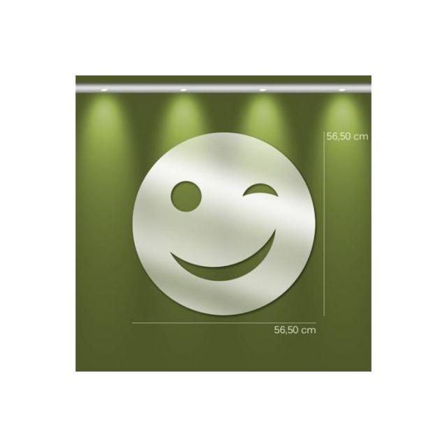 Declikdeco Miroir smiley Gm argenté en verre Timi 57 x 57 cm