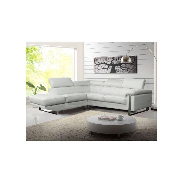 MARQUE GENERIQUE Canapé d'angle en cuir MYSTIQUE - Blanc - Angle gauche