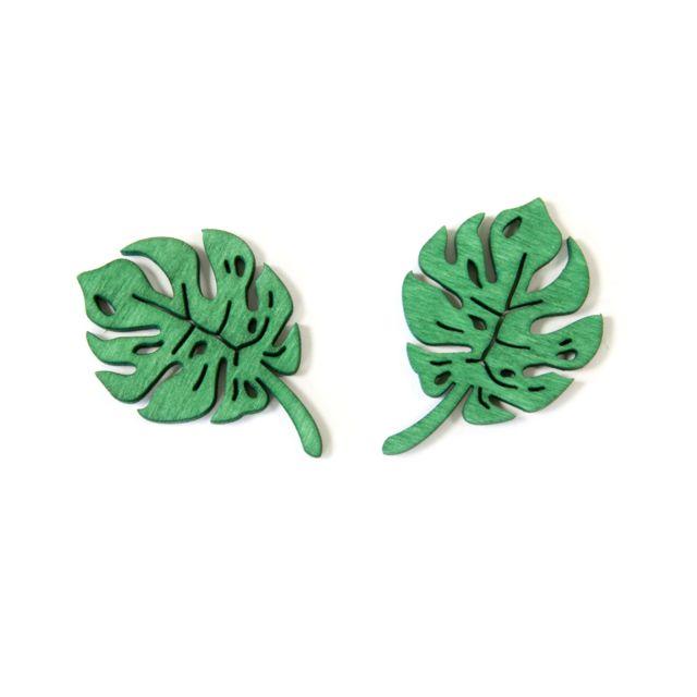 Visiodirect 10 sachets de 10 Confettis feuilles tropicales en Bois en vert - 4 x 3 cm