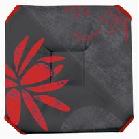 Le Linge De Jules - Galette de chaise anti-taches à rabats Lotus rouge
