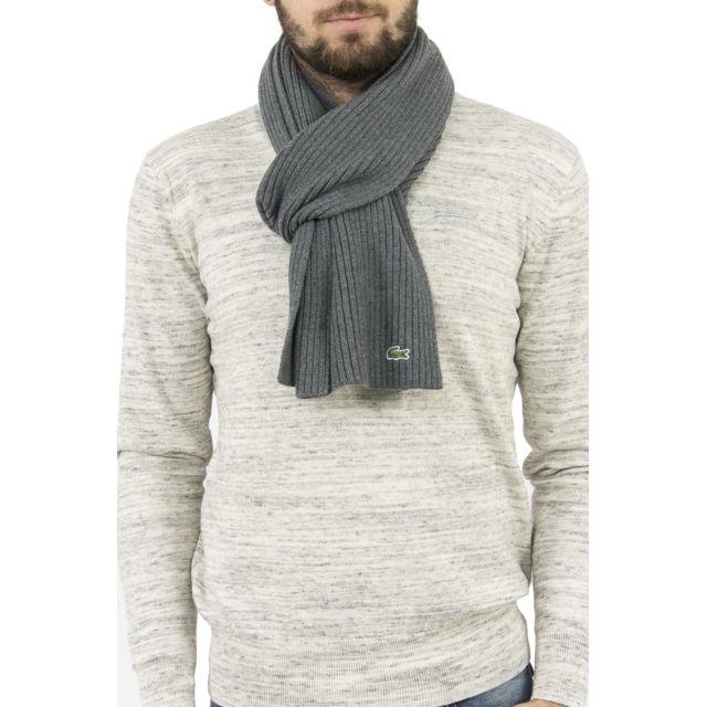 08436561813f Lacoste - Echarpe re4212 gris - pas cher Achat   Vente Echarpes, foulards -  RueDuCommerce
