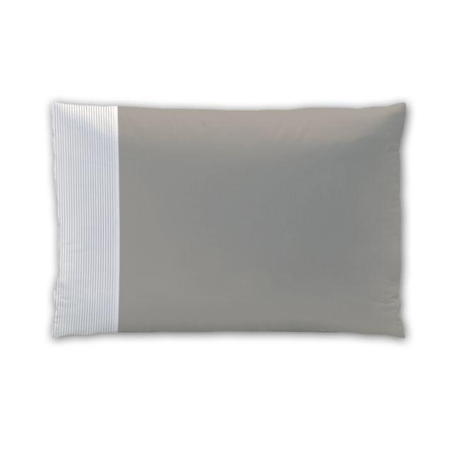 matt rose taie d 39 oreiller rectangulaire taupe pliss blanc 100 coton pas cher achat. Black Bedroom Furniture Sets. Home Design Ideas