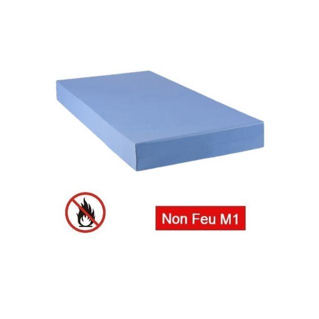Avenue Literie Matelas M1 non feu collectivité Bleu 90 x 190