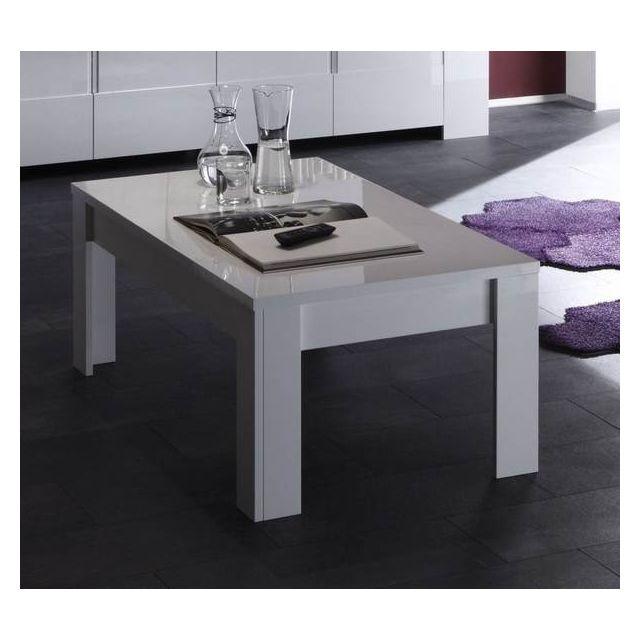 Sofamobili Table basse blanc laqué design Esmeralda